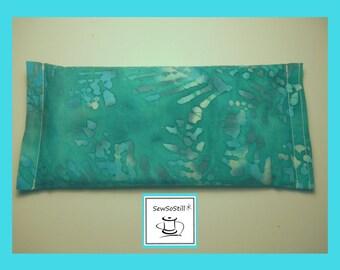 Eye Pillow, Eye Pillow Lavender, Organic Lavender and Flax Seed Eye Pillow, Yoga Eye Pillow, Green-Turquoise Batik, Savasana Eye Pillows