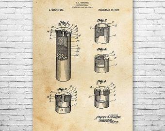 Shotgun Shell Poster Art Print, Bullets, Hunting Gift, Hunter Gift, Patent Art, Patent Print, Patent Poster, Wall Art, Home Decor, Art