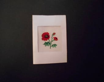 Embroidered card handmade on canvas - poppy