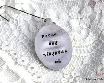 Peace and Kindness - VINTAGE SPOON ORNAMENT Christmas Ornament Silverware Ornament Keepsake Gift Under 15 Made in Usa