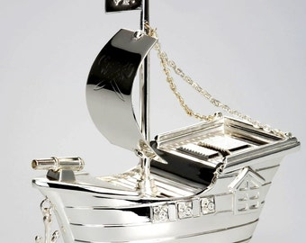Exclusive money box Cog (ship), ship, pirate flag silver plated-solid 380 g