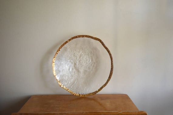 Vintage Glass Bowl / Plate w/Gold Accent - Art Deco, Modern, Mid Century