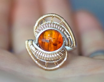 Size 10.5, Baltic Amber, Sterling Silver, 14 kt Gold Fill Wire Wrap Wrapped Wirewrappped Ring