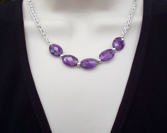 Handmade Purple Amethyst Chain Necklace Choker; Foxtail Chain Necklace; Workplace Jewelry; Birthday anniversary gift for her; Ooak necklace