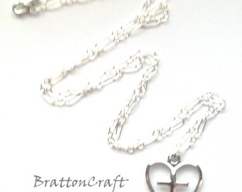 Silver Heart and Cross Necklace- Sterling Silver Heart Necklace - Christian Necklace - Heart Necklace - Cross Necklace