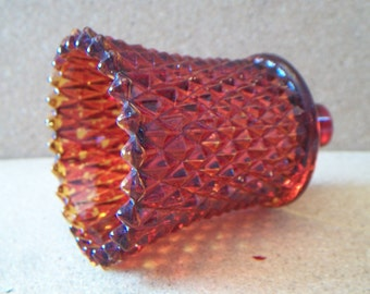 Vintage Indiana Glass Diamond Point Amberina Glass Votive Cup Candle Holder