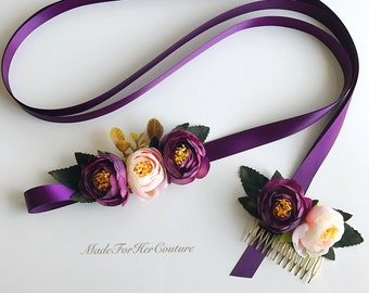 Plum flower sash, purple flower sash, flower sash, flower belt, bridal purple sash, wedding purple flower sash, wedding sash belt, boho sash