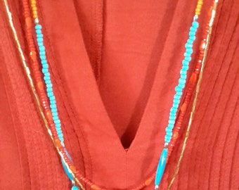 Bohemian Spirit - Bohemian, Gypsy Multi Strand Torquoise and Orange Necklace