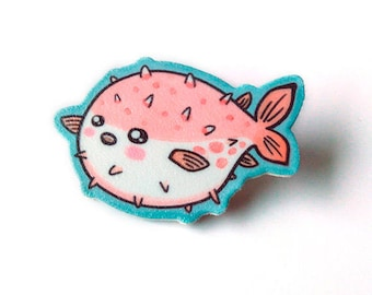 Lapel pin, Cute pufferfish, Kawaii brooch