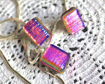 Fused Dichroic Glass and Sterling Silver Stud Earrings and Pendant Necklace Set - Gift Boxed - Cerise Pink-Purple-Green-Gold