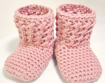 """Crochet Shoe Pattern """"Textured Booties"""" Sizes Baby to Toddler"""