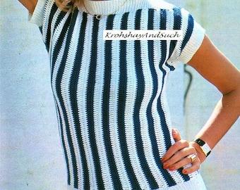 Stripy Blouse, Boat Neck, Crochet Pattern. PDF Instant Download.