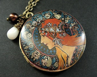 Zodiac Woman Necklace. Art Nouveau Necklace with White Coral and Fresh Water Pearl. Handmade Jewelry.