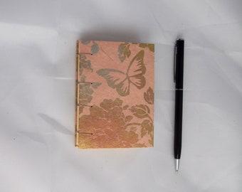 Mini Notebook - Pink Butterflies - Coptic Stitch - Small Notebook - 3.75x2.75 inch