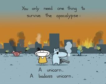 Apocalypse Unicorn Greeting Card