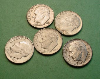 5 Pcs Different US Silver Dimes for Ten American Dollars<> Great Survival Money <> The Coins you see are the coins you get<> # ET3231