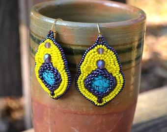 Bead Embroidery Yellow Purple Turquoise Earrings Seed Bead earrings Beadwork earrings Beaded earrings Bead Embroidery Jewelry Gift for her