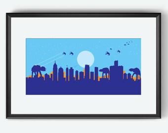 Detroit Skyline print, Star Wars Inspired print, art poster, Detroit Michigan, Detroit art, Detroit print, Detroit poster, Detroit gift, art
