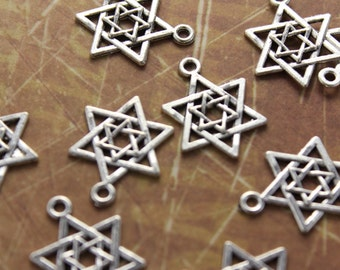 10 Star of David Charms Star of David Pendants Antiqued Silver Tone Double Sided 20 x 16 mm