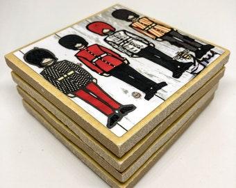 4 Ceramic Art Coasters - ON GUARD