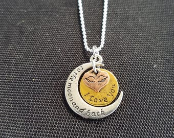 I Love You to the Moon and Back - Tri-Tone Necklace