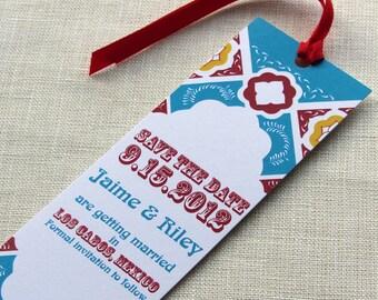 Mexico Save the Date - Mexican Talavera Tile - Mexico Wedding Bookmark