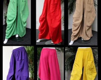 ComfyPlus Designer Lagenlook Cotton Gauze Crazy Cuts European Plus size pants Pockets. Loose Fit