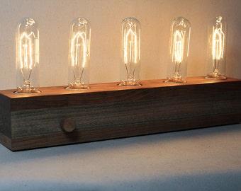 wooden Edison lamp, desk lamp, table lamp, edison bulb, fabric wire, For Her, Birthday Gift, For Him, lighting, wooden lamp, Gift, Wedding