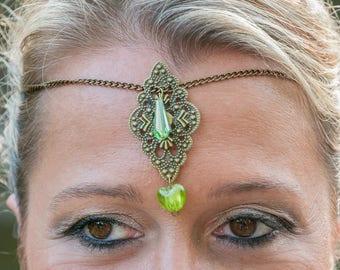 Bronze elven Medieval wedding headband, and green beads
