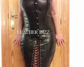 Leather Steel boned Corset dress