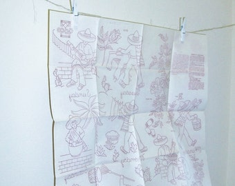 Vintage Days Of The Week Embroidery Transfer Sheet | Happy Alesandro | Mexican Hombre