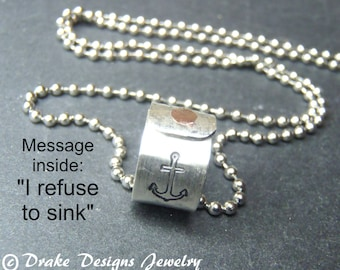 Motivational jewelry anchor necklace sterling silver I refuse to sink necklace
