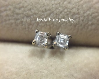 Delicate .35ct Asscher Cut Diamonds Earrings Prong Set in 14k Yellow Gold April Birthstone Baby Earrings Ready to Ship