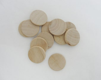 """50 wooden Circles, 1 inch wood disk, 1"""" wood disc 1/8"""" thick unfinished DIY rounded edges"""