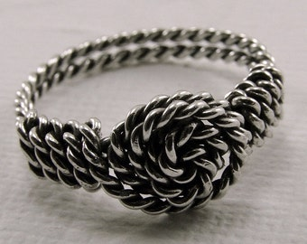Sterling Silver Twisted Wire  Wire Wrapped Ring - Any Size Sterling Silver Rosette Ring