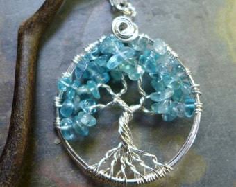Apatite Tree of Life Necklace-Wire Wrapped Mini/Petite/Small Tree of life- Aquamarine /Apatite Necklace, March,December   Birthstone