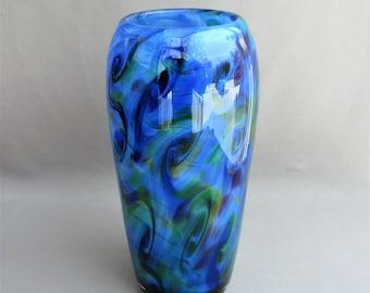 Blown Glass Blue Multicolored Vase, Hand blown  Art Glass.