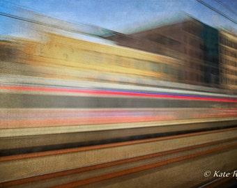 Philadelphia, Urban Landscape, Photography, Train Travel, Abstract Art, Dreamy, Wall Art, Office Art, Home Art, Yellow, Brown, Blue, Red