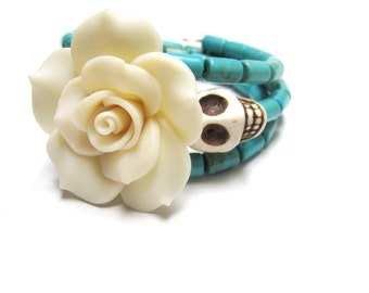 Sugar Skull Bracelet Day Of The Dead Jewelry Wrap White Rose Turquoise Blue