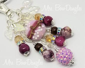 Purse Charm, Boho Handbag Charm, Boho Keychain Charm, Purse charm Keychain, Czech Leaves Charm By MrsBowDangles Design  872