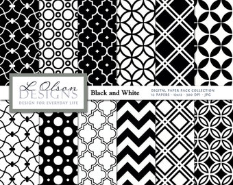 Black and White Paper Pack - 12 digital paper patterns - INSTANT DOWNLOAD