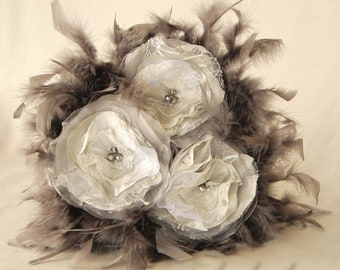 Bridesmaids Bouquet with Feathers, Silver-Gray Toss Bouquet, Feathered Bridesmaids Bouquet, Bridesmaids Bouquet for Gift 4059