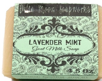 Lavender Mint Goat Milk Soap, lavender soap, ready to ship, soap for her, soaps, birthday gift, shaving soap, cold process soap, honey