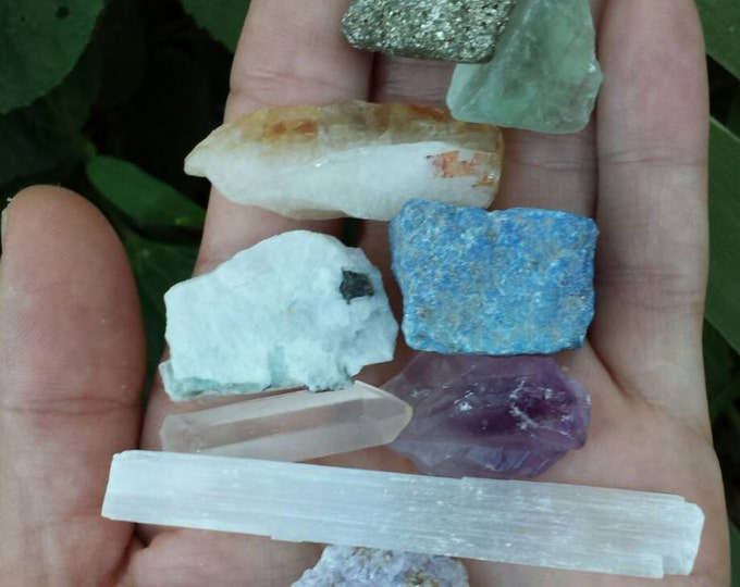 Featured listing image: BEST SELLER Crystal Bundle with 9 stones - reiki - chakra  - zen - altar - healing - crystals - stones - minerals - jewelry supply CBC004