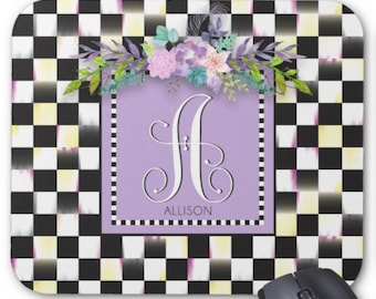 Personalized Mouse Pad, Custom Neoprene Mouse Pad, Whimiscal Check Design, Monogram Mouse Pad