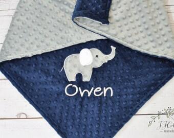 Baby Blanket Personalized Minky-Elephant Personalized baby blanket-Elephant Minky blanket- Minky Elephant Blanket-Elephant Baby Boy Blanket