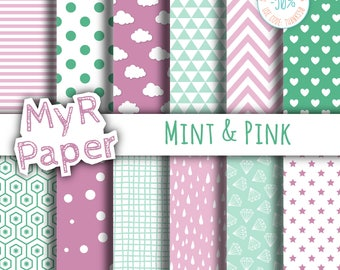 "Digital Paper Pack: ""Mint & Pink"" dots, clouds, triangles, chevron, hearts, stars, drops, confetti, diamonds, hexagons."