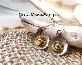 Silver Earrings, Mixed Metal Earrings, Dainty Earrings, Lightweight earrings, Artisan Earrings, Silver and Brass earrings, Boho earrings