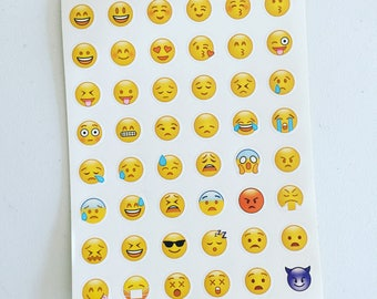 Emoji Mini Stickers, Smiley Planner Stickers, Scrapbooking Sticker, Fun Faces Deco Stickers, Card Embellishment, Planner Supplies