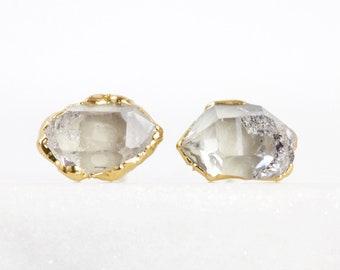 Herkimer Diamant-Ohrringe | rohen Ohrstecker | rohen Kristall Ohrstecker | April Geburtsstein Bolzen | Roh-Diamant-Ohrringe | Herkimer Diamant-Schmuck